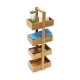 Relaxdays Bambus Badregal H x B x T: 75 x 25 x 18 cm Praktisches Badezimmerregal als Ablageständer mit 4 Körben als Bambus-Butler Korbregal aus natürlichem Holz für Badezimmer und Feuchträume, natur - 1