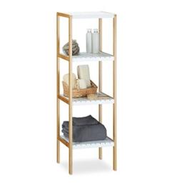 Relaxdays Bambus Regal mit 4 Fächern HBT: 110 x 33 x 34 cm Schickes Badregal mit 4 Ablagen aus natürlichem Holz Standregal als Küchenregal oder Holzregal zur Aufbewahrung im Badezimmer, weiß, natur - 1