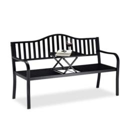 Relaxdays Gartenbank mit Klapptisch, 3-Sitzer, integrierte Tischablage, wetterfest, HxBxT 90 x 150 x 57,5 cm, schwarz - 1