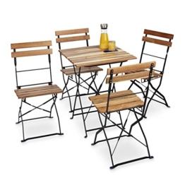 Relaxdays Gartenstuhl 4er Set, klappbar, Metall, Naturholz, ohne Armlehnen, H x B x T: 84 x 42 x 44 cm, naturfarben - 1