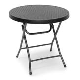 Relaxdays Gartentisch klappbar BASTIAN, rund H x B x T: 74 x 80 x 80 cm, Metall, Kunststoff, Rattan-Optik, schwarz - 1