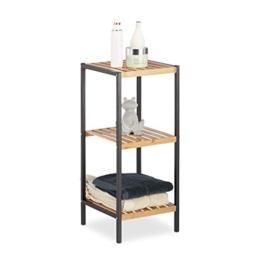 Relaxdays, Natur Regal Bambus, universales Standregal, 3 Ablagen, Metall-Rahmen, quadratisch, HxBxT: 70 x 30 x 30 cm, 3 Ebenen - 1