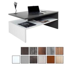 RICOO Couchtisch mit Stauraum WM080-W-A TV Wohnzimmertisch Kaffeetisch Beistelltisch Wohnzimmer Couch Tisch Klein Viereckig Rechteckig Modern Design | Holz Hell Weiß & Dunkel Grau Anthrazit - 1