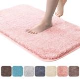 RMane Badematte Verdicken Hochflor rutschfest Badteppiche mit Wasserabsorbierenden Weiche Mikrofasern für Badezimmer Dusche Badewanne Schlafzimmer (Pink, 40 x 60 cm) - 1