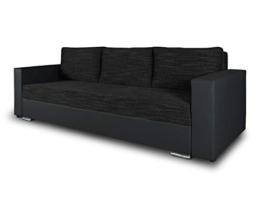 Schlafsofa Bird - Sofa mit Schlaffunktion und Bettkasten, Klappsofa, Schlafcouch mit Chromfüße, Couch, Couchgarnitur, Sofagarnitur (Schwarz + Schwarz (Dolaro 08 + Berlin 02)) - 1