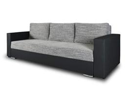 Schlafsofa Bird - Sofa mit Schlaffunktion und Bettkasten, Klappsofa, Schlafcouch mit Chromfüße, Couch, Couchgarnitur, Sofagarnitur (Schwarz + Grau (Dolaro 08 + Berlin 01)) - 1