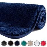 SFLXO Badematte 100cm x 60cm rutschfest-Badvorleger Maschinenwaschbar Anti-Rutsch Badteppich Weich Wasserabsorbierende Badematten Flauschige Mikrofaser Badezimmerteppich Marineblau Mehrweg - 1