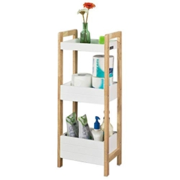 SoBuy® FRG226-WN Badregal in weiß/Kautschukholz Standregal Küchenregal mit 3 Ablagefächern BHT ca: 28x74x20cm - 1