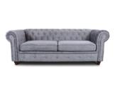 Sofa Chesterfield Asti 3-Sitzer, Couch 3-er, Glamour Design, Couchgarnitur, Sofagarnitur, Holzfüße, Polstersofa - Wohnzimmer (Grau (Capri 09)) - 1
