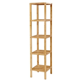 SONGMICS 5-stöckiges Badezimmerregal aus Bambus, Standregal, Küchenregal, 33 x 33 x 146 cm, schmal für enge Räume, Wohnzimmer, Schlafzimmer BCB55Y - 1