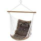 SONGMICS Hängesessel mit Kissen, XL Affenschaukel mit Polsterung, Hängestuhl mit Bambusstange, 70 x 120 cm, bis 200 kg belastbar, Indoor und Outdoor, braun-grau GDC46CG - 1