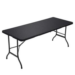 SONGMICS Klapptisch, großer Gartentisch mit Oberfläche aus Polyrattan, klappbarer Campingtisch, Sicherheitsriegel, Terrasse, Koffertisch, Buffettisch 180 x 75 x 74 cm, schwarz GPT02BK - 1