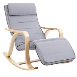 SONGMICS Schaukelstuhl Relaxstuhl 5-Fach Verstellbare Wadenstütze Belastbarkeit 150 kg, grau, LYY41G - 1