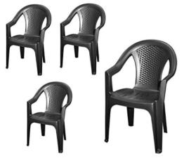 Stapelbarer Gartenstuhl in anthrazit - 4er Set - Monoblock in Rattan Optik aus Kunststoff - Stapelstuhl Kunststoffstuhl - 1