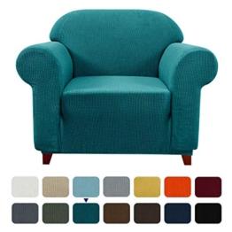 subrtex Spandex Sofabezug Stretch Couchbezug Sesselbezug Elastischer Antirutsch Sofahusse (1 Sitzer, Blau) - 1