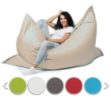 sunnypillow XXL Sitzsack, Riesensitzsack Outdoor & Indoor 180 x 145 cm mit 380L Styropor Füllung Sessel für Kinder & Erwachsene Sitzkissen Sofa Beanbag viele Farben und Größen zur Auswahl Cremefarben - 1