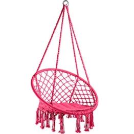 TecTake 800689 Hängesessel zum Aufhängen, inkl. bequemes Sitzkissen, max. 100 kg belastbar, für draußen und drinnen geeignet - Diverse Farben - (Pink | Nr. 403341) - 1