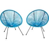 TecTake 800729 2er Set Acapulco Garten Stuhl, Lounge Sessel im Retro Design, Indoor und Outdoor, pflegeleicht, Relaxsessel zum gemütlichen Sitzen - Diverse Farben - (Blau | Nr. 403306) - 1