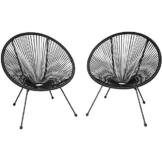 TecTake 800729 2er Set Acapulco Garten Stuhl, Lounge Sessel im Retro Design, Indoor und Outdoor, pflegeleicht, Relaxsessel zum gemütlichen Sitzen - Diverse Farben - (Schwarz | Nr. 403302) - 1