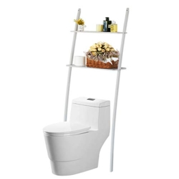 Toilettenregal Waschmaschinenregal platzsparendes Badregal aus Bambus, Bad WC Regal Lagerregal mit 2 Ablagen -173x66x25 cm - 1