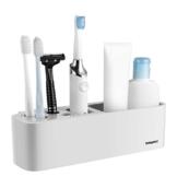 TOPBATHY Bad Veranstalter Saugnapf Zahnbürstenhalter Wandmontierter Badregal Abnehmbare Badezimmerablagen für Rasierer Gesichtsreiniger (grau weiß) - 1