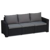 Transcontinental Group Allibert California Graphit grau 3-Sitzer Rattan Outdoor Garden Patio Sofa mit Kissen - 1