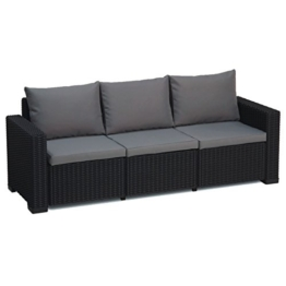 Transcontinental Group Allibert California Graphit grau 3-Sitzer Rattan Outdoor Garden Patio Sofa mit Kissen - 1