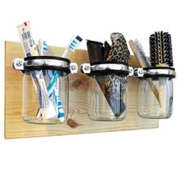 ultiMade Badregal Wandregal aus Kiefer geölt 40x20x1,8cm mit Gläsern zur Aufbewahrung von Hygiene- und Badartikeln Wandboard Badezimmerregal Wandhalter Hängeregal inklusive Befestigungsmaterial - 1