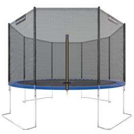Ultrasport Outdoor Gartentrampolin Jumper, Trampolin Komplettset inklusive Sprungmatte, Sicherheitsnetz, gepolsterten Netzpfosten und Randabdeckung, bis zu 150 kg, blau, Ø 366 cm - 1