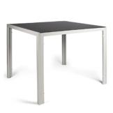 Vanage Aluminium Gartentisch in Grau mit Strukturierter Glasplatte in Schwarz - Gartenmöbel - Aluminiumtisch für Garten, Terrasse und Balkon Geeignet - 90 x 90 cm - 1