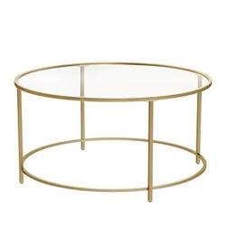 VASAGLE Couchtisch rund, Glastisch mit goldenem Stahl-Gestell, Wohnzimmertisch, Sofatisch, robustes Hartglas, stabil, dekorativ, Gold LGT21G - 1