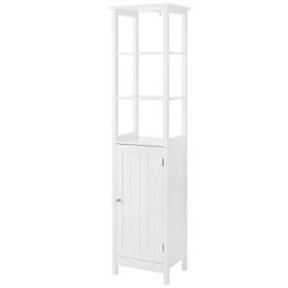 VASAGLE Hochschrank, Badezimmerschrank mit 3 offenen Fächern und verstellbarem Einlegeboden, Badregal im Landhausstil, Badschrank aus Holz, weiß, 40 x 160 x 32 cm (B x H x T) BBC63WT - 1