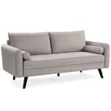 VASAGLE Sofa 3 Sitzer, Couch mit Bezug aus Leinenimitat, 180 x 82 x 83 cm, Polstermöbel für kleine Wohnungen, Gästezimmer, Jugendzimmer, mit Holzgestell, einfacher Aufbau, beige, LCS10BE - 1