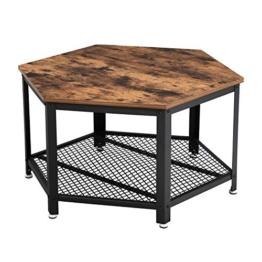 VASAGLE Vintage Wohnzimmertisch, Couchtisch, Kaffeetisch, fürs Wohnzimmer oder Büro, stabil, mit Metallgestell und Gitterablage, hexagonal, Holzoptik LCT16X - 1