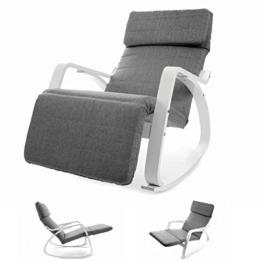 VECOTTI Schaukelstuhl, Relaxstuhl mit Verstellbarer Fußstütze, Schaukelsessel für Wohnzimmer, Terrasse, Balkon, einfache Montage (GRAU) - 1