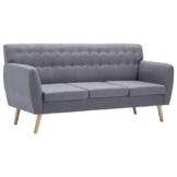 vidaXL Sofa 3-Sitzer Stoff Hellgrau Polstersofa Loungesofa Sitzmöbel Couch - 1