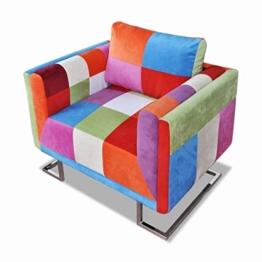 vidaXL Würfel Sessel Patchwork-Design Stoff TV Relaxsessel Clubsessel Sofa - 1