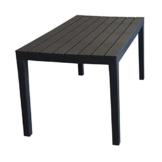 Wohaga Campingtisch 'Sumatra' Tischplatte in Holz-Optik Vollkunststoff Anthrazit - 138x78xH72cm - 1