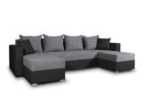 Wohnlandschaft mit Schlaffunktion Beno - U-Form Couch, Ecksofa mit Bettkasten, Couchgranitur mit Bettfunktion, Polsterecke, Big Sofa, Polstergarnitur (Schwarz + Dunkelgrau (Cayenne 1114 + Enjoy 23)) - 1