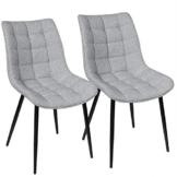 WOLTU® Esszimmerstühle BH206hgr-2 2er Set Küchenstuhl Polsterstuhl Wohnzimmerstuhl Sessel mit Rückenlehne, Sitzfläche aus Leinen, Metallbeine, Hellgrau - 1