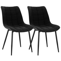 WOLTU® Esszimmerstühle BH206sz-2 2er Set Küchenstuhl Polsterstuhl Wohnzimmerstuhl Sessel mit Rückenlehne, Sitzfläche aus Leinen, Metallbeine, Schwarz - 1