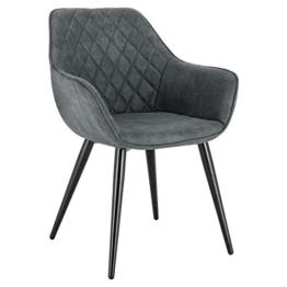 WOLTU Esszimmerstühle BH231gr-1 1x Küchenstuhl Wohnzimmerstuhl Polsterstuhl mit Armlehen Design Stuhl Stoffbezug Metall Grau - 1