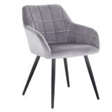 WOLTU® Esszimmerstuhl BH93gr-1 1 Stück Küchenstuhl Polsterstuhl Wohnzimmerstuhl Sessel mit Armlehne, Sitzfläche aus Samt, Metallbeine, Grau - 1