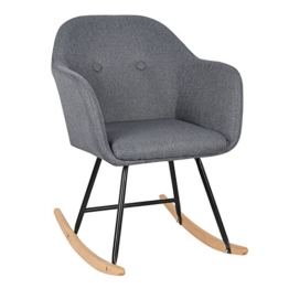 WOLTU® Schaukelstuhl SKS04dgr Relaxstuhl Sessel Schaukelsessel Schwingsessel Leinen Stahl Holz Dunkelgrau - 1