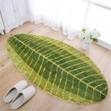 X-Labor Grün Blatt Weiche Antirutsch Badematte Badvorleger Duschvorleger Fußmatte Teppichboden für Bad Küche Wohnzimmer Schlafzimmer 40x60 cm - 1