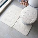 YHJZBD Toilettensitz 3-Teiliges Set Bad Teppiche Set Rutschfestes Badezimmer Sockelteppich + Toilettendeckel + Waschbares Bademattenset - 1