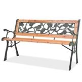 yorten Sitzbank Gartenbank Parkbank Gartenmöbel mit Rosenmotiv PVC Rückenlehne 122 x 51 x 73 cm (B x T x H) Geeignet für Verwendung im Freien - 1